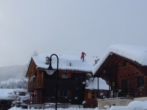 Man clearing the snow in Verbier