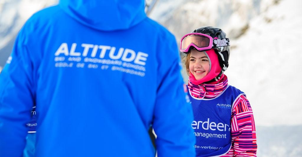 Children ski lesson verbier