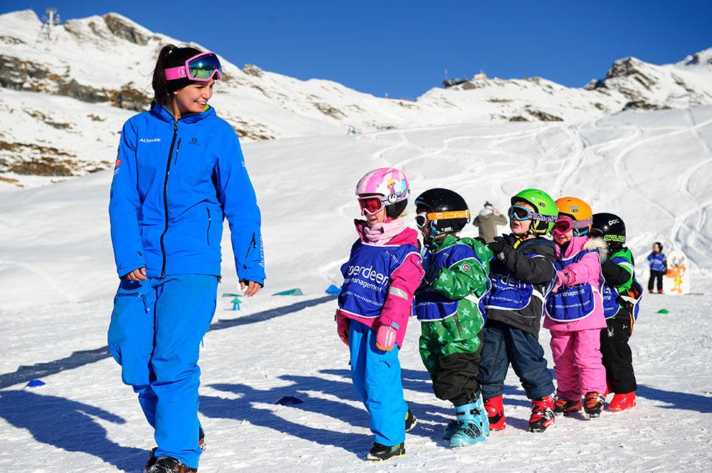 verbier kids ski lesson