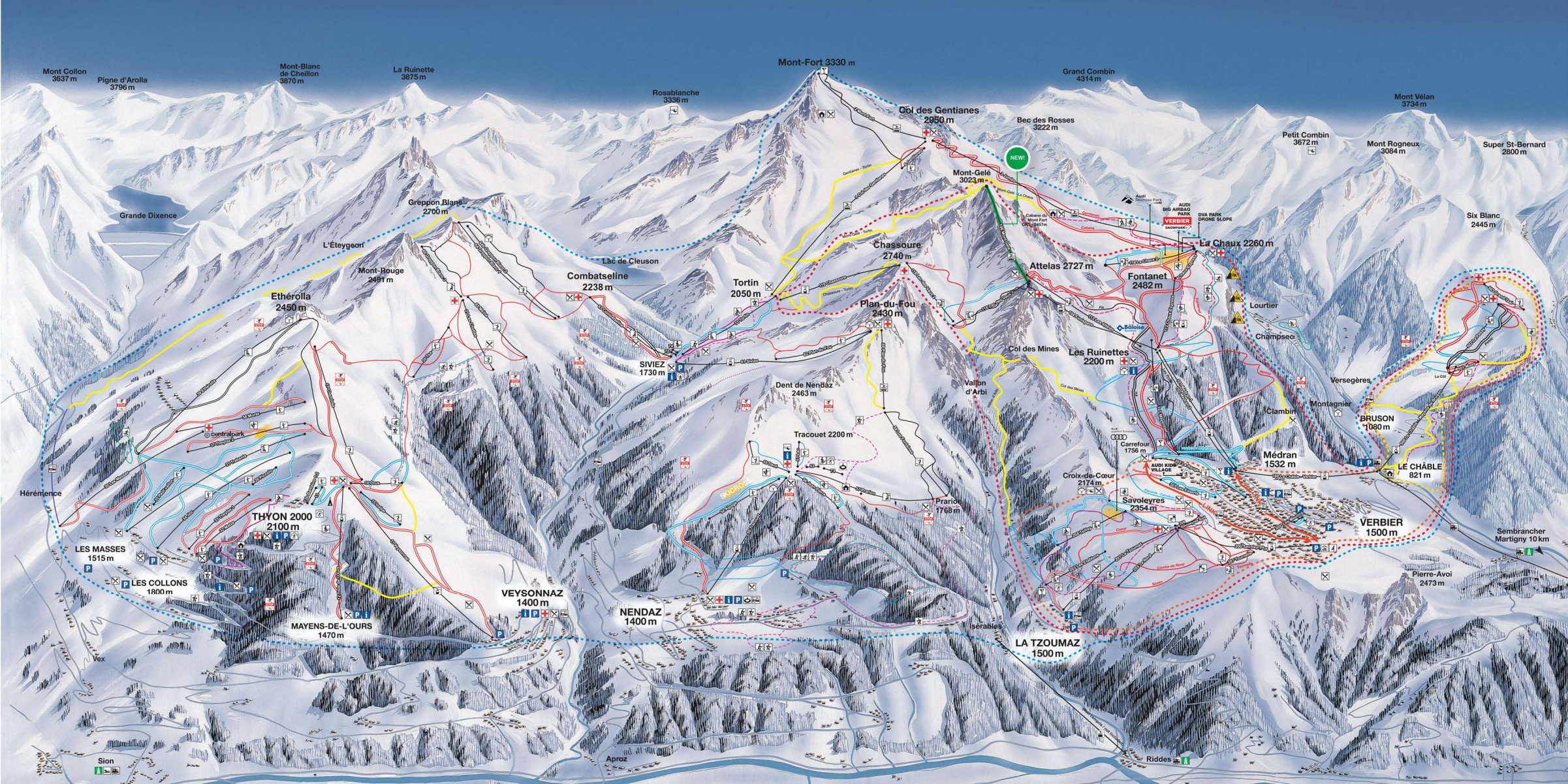 Verbier Piste Map Verbier, One of the best ski resorts in the world.
